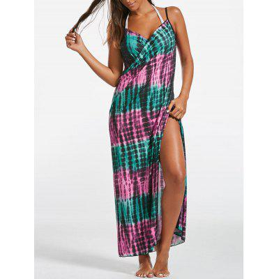 Wrap Cover Up Dress with Illusion Print
