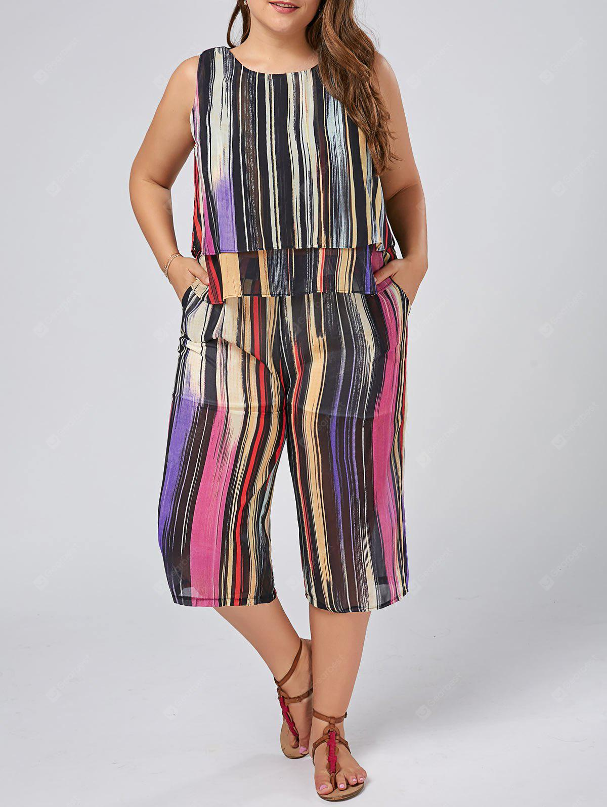 MULTI-COLOR 3XL Plus Size Chiffon Stripe Tank Top and Palazzo Pants