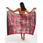 Wrap Cover Up Dress with Illusion Print - RED