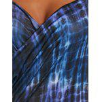 Wrap Cover Up Dress with Illusion Print - BLUE