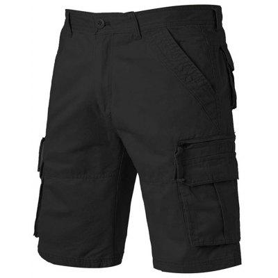 Straight Leg Applique Zip Up Pockets Cargo Shorts