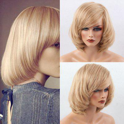 Short Inclined Bang Straight Bob peruca de cabelo humano