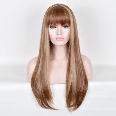 Long Full Bang Highlight Silky Straight Colormix peruca sintética
