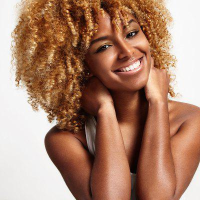 Buy YELLOW Side Bang Medium Shaggy Afro Kinky Curly Synthetic Wig for $18.83 in GearBest store