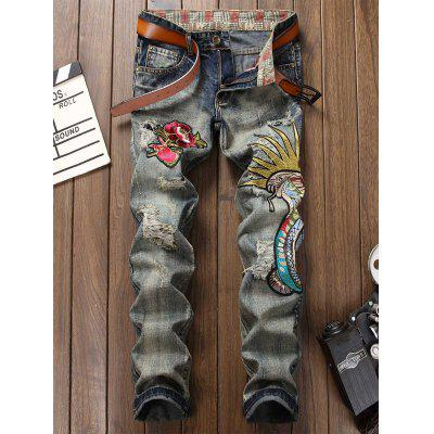 Buy GRAY 38 Zipper Fly Faded Floral and Graphic Embroidered Ripped Jeans for $45.43 in GearBest store