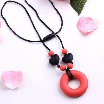 Silicone Heart Circle Beads Pendant Necklace