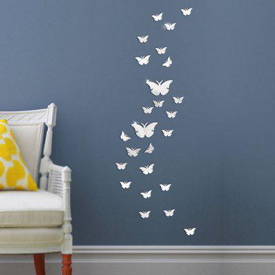 Buy SILVER 25 PCS Butterflies Decorative Removable Mirror Wall Stickers for $4.84 in GearBest store