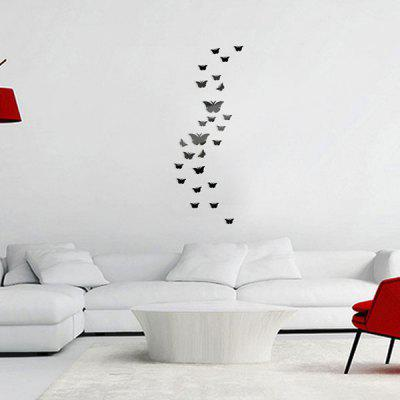 Buy BLACK 25 PCS Butterflies Decorative Removable Mirror Wall Stickers for $4.84 in GearBest store