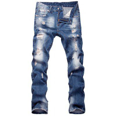 Zipper Fly Faded Straight Leg Distressed Jeans