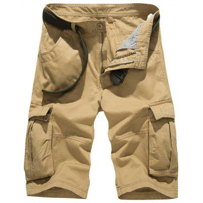 Zipper Fly Pockets Embellished Design Cargo Shorts