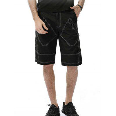 Zipper Fly Rhombus Pockets Design Cargo Shorts