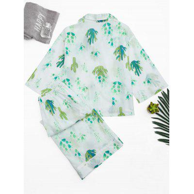Cactus Print Wide Leg Loungewear SuitPajamas<br>Cactus Print Wide Leg Loungewear Suit<br><br>Material: Cotton, Polyester<br>Package Contents: 1 x Shirt  1 x Pants<br>Pattern Type: Plant<br>Weight: 0.3700kg