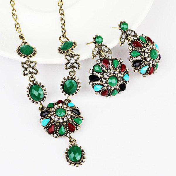 GREEN Rhinestone Flower Necklace and Earring Set