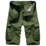 Zipper Fly Pockets Embellished Design Cargo Shorts - ARMY GREEN