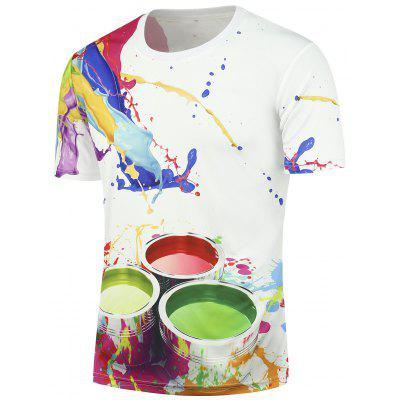 3D Paint Bucket Print Short Sleeves T-shirt