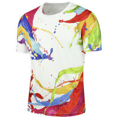 Buy WHITE 3D Splashed Paint Short Sleeves Tee for $14.76 in GearBest store