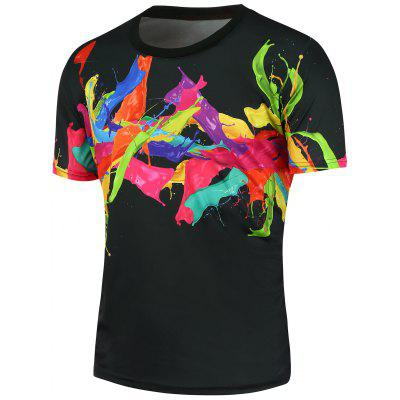 3D Colorful Splashing Paint Short Sleeves T-shirt