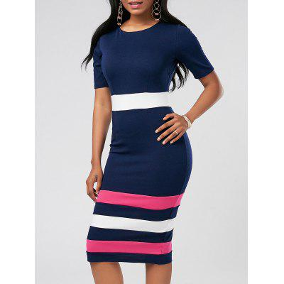 Buy PURPLISH BLUE L Color Block Midi Sheath Pencil Dress for $25.58 in GearBest store