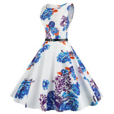 Vintage Sleeveless Printed Fit and Flare DressWomens Dresses<br>Vintage Sleeveless Printed Fit and Flare Dress<br><br>Dress Type: Fit and Flare Dress,Swing Dress<br>Dresses Length: Mid-Calf<br>Material: Cotton, Polyester<br>Neckline: Round Collar<br>Package Contents: 1 x Dress 1 x Belt<br>Pattern Type: Print<br>Season: Summer<br>Silhouette: A-Line<br>Sleeve Length: Sleeveless<br>Style: Vintage<br>Weight: 0.2500kg<br>With Belt: Yes