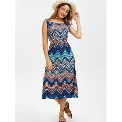 Zigzag Sleeveless Midi DressWomens Dresses<br>Zigzag Sleeveless Midi Dress<br><br>Dresses Length: Mid-Calf<br>Material: Cotton, Polyester<br>Neckline: Scoop Neck<br>Occasion: Casual<br>Package Contents: 1 x Dress<br>Pattern Type: Chevron/Zig Zag<br>Season: Summer<br>Silhouette: A-Line<br>Sleeve Length: Sleeveless<br>Style: Casual<br>Weight: 0.2700kg<br>With Belt: No