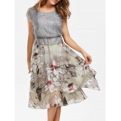 Buy GRAY 2XL Bohemian Floral Print Peplum Midi Dress for $30.04 in GearBest store