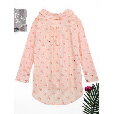 Flamingo Print High Low Loungewear ShirtPajamas<br>Flamingo Print High Low Loungewear Shirt<br><br>Material: Cotton, Polyester<br>Package Contents: 1 x Shirt<br>Pattern Type: Animal<br>Weight: 0.2700kg