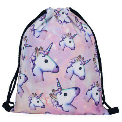 Buy COLORMIX Unicorn Print Drawstring Backpack for $8.75 in GearBest store