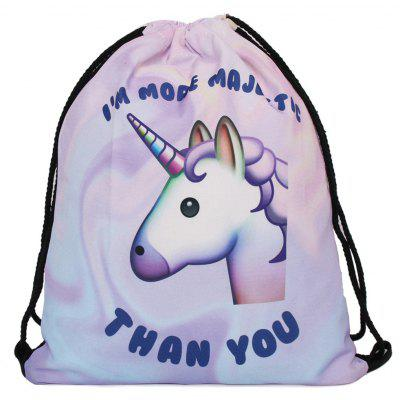 Buy PURPLE Unicorn Print Drawstring Backpack for $8.75 in GearBest store