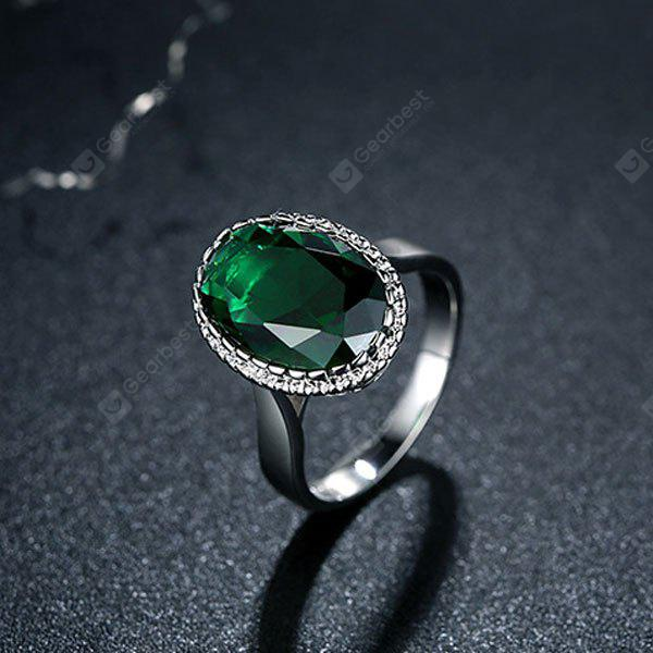 Zircon Faux Crystal Platinum Plated Ring