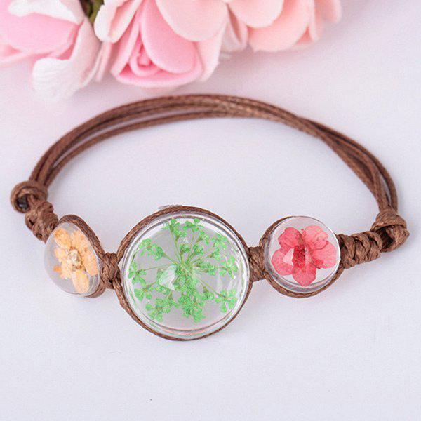 Glass Dry Flower Adjustable Braid Rope Bracelet