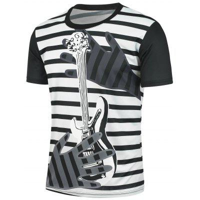 Short Sleeves Striped and Guitar Printed T-shirt