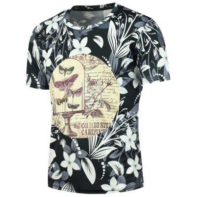 3D Butterflies and Flowers Printed Short Sleeves Tee