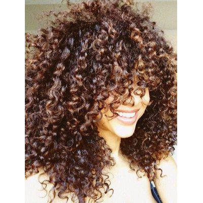 Buy GRADUAL BROWN Adiors Shaggy Long Side Bang Afro Curly Synthetic Wig for $21.90 in GearBest store