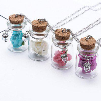 Gearbest Glow in the dark Glass Dry Flower Necklace