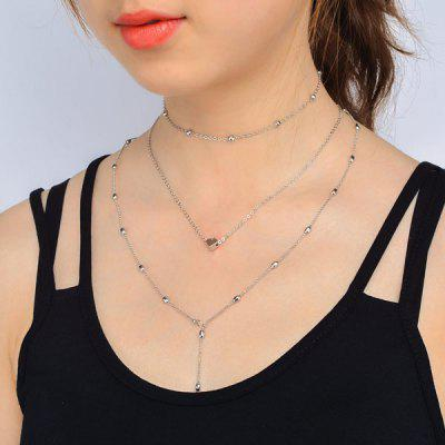 Buy SILVER Circle Heart Pendant Collarbone Necklace Set for $3.01 in GearBest store