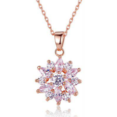 Buy ROSE GOLD Rhinestone Link Chain Pendant Necklace for $5.64 in GearBest store