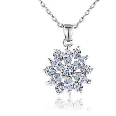 Buy SILVER Rhinestone Link Chain Pendant Necklace for $5.64 in GearBest store