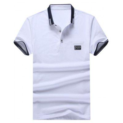 Faux Pocket Two Tone Polo Shirt