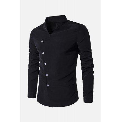 Collar de pie Placket oblicuo Camiseta de manga larga