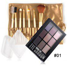 Silicone Sponges Eyeshadow Palette with Makeup Brushes Set