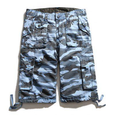 Multi Pockets Zip Fly Camouflage Cargo Shorts