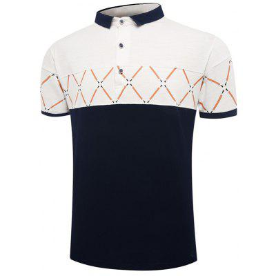 Color Block Geometric Pattern Short Sleeve Polo Shirt