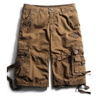 Straps Embellished Pockets Cargo Shorts