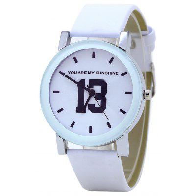 PU Leather Band Number Analog Watch