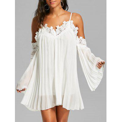 Buy WHITE L Lace Panel Long Sleeve Mini Chiffon Cami Dress for $21.06 in GearBest store