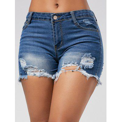 Skinny Denim Ripped Mini Shorts