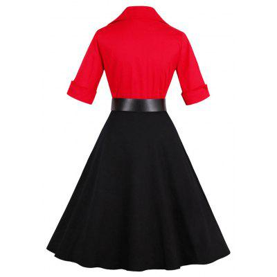 Vintage Color Block Buttoned Flare DressWomens Dresses<br>Vintage Color Block Buttoned Flare Dress<br><br>Dresses Length: Knee-Length<br>Embellishment: Button<br>Material: Cotton, Polyester<br>Neckline: Shawl Collar<br>Package Contents: 1 x Dress   1 x Belt<br>Pattern Type: Patchwork<br>Season: Fall, Spring, Summer<br>Silhouette: A-Line<br>Sleeve Length: 3/4 Length Sleeves<br>Style: Vintage<br>Weight: 0.4500kg<br>With Belt: Yes