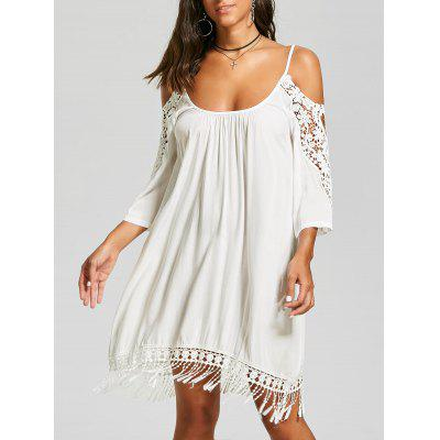 Buy WHITE L Cold Shoulder Lace Trim Fringe Mini Dress for $20.86 in GearBest store