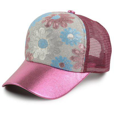 Floral Pattern Sequin Embellished Baseball Hat
