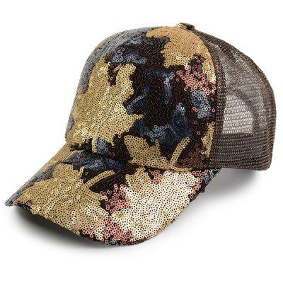 Sequin Embellished Maple Leaf Pattern Baseball Hat